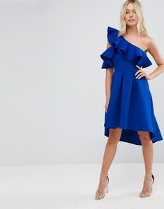 Read more about Asos one shoulder cold shoulder ruffle dip back prom dress - cobalt