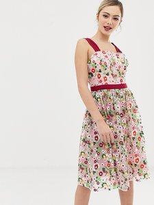 Read more about Chi chi london square neck embroidered midi prom dress in multi