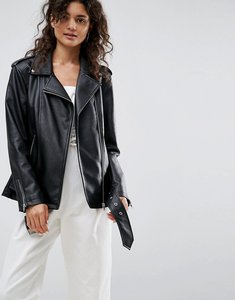 Read more about Asos longline biker jacket in faux leather - black