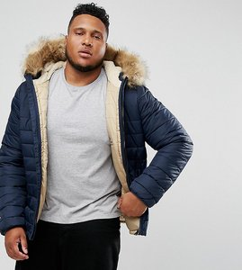 Read more about Schott plus rocky 2 puffer bomber jacket hooded detachable faux fur trim slim fit in navy - navy
