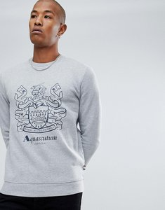 Read more about Aquascutum ives giant crest logo crew neck sweat in grey - navy