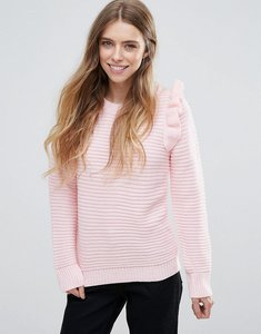 Read more about Qed london ribbed jumper with shoulder ruffle - pink