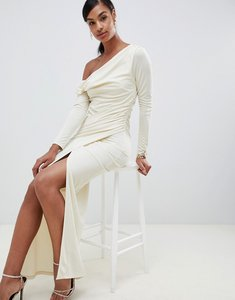 Read more about Asos design one shoulder slinky maxi dress - cream
