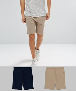 Read more about Asos jersey skinny shorts 2 pack navy beige marl save - navy tawny