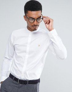 Read more about Farah shirt with grandad collar in slim fit with stretch - white