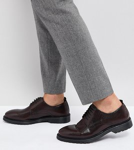 Read more about Asos wide fit lace up derby shoes in burgundy leather with ribbed sole - burgundy