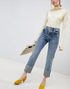 Read more about Asos design florence authentic straight leg jeans in oxford wash with deep turn up - mid wash blue
