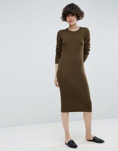 Read more about Asos chunky knit midi dress with rib panel - khaki