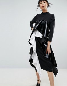 Read more about Asos white maxi dress with layered pleats - black