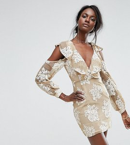 Read more about Missguided cold shoulder lace dress - beige