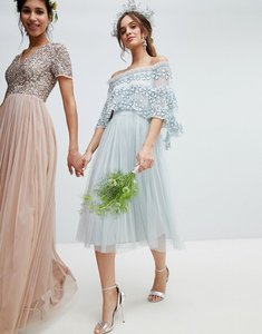 Read more about Maya embellished bardot layered midaxi dress in ice blue - ice blue