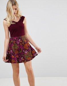 Read more about Ax paris bardot cross front jacquard skater dress - purple