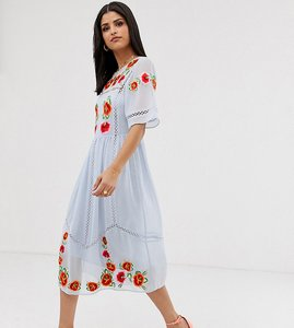 Read more about Asos design tall embroidered midi smock dress with ladder trims