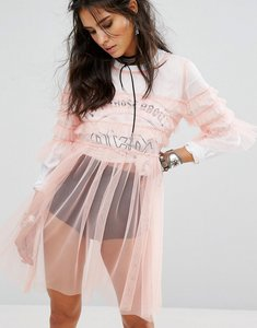 Read more about Glamorous sheer mesh smock dress with ruffle trims - peach