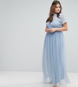 Read more about Maya plus embellished yoke maxi dress with cap sleeve - dusky blue