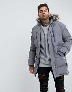 Read more about Good for nothing parka in grey with faux fur hood - grey