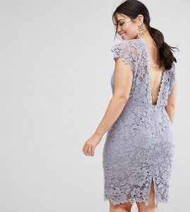 Read more about Paper dolls plus midi lace dress with scalloped back - oyster grey