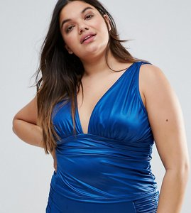 Read more about Asos curve mix and match deep band plunge tankini bikini top - turquoise