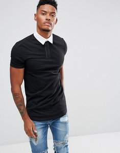 Read more about Asos longline muscle rugby polo shirt in black with curved hem - black