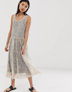 Read more about Selected printed mesh midi dress - cream