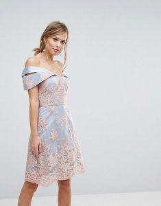 Read more about Chi chi london premium lace bardot dress - grey rose gold