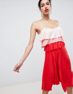 Read more about Asos design colourblock tiered midi pleated dress - multi