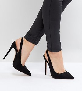 Read more about Lost ink wide fit black penelope sling back court shoes - black