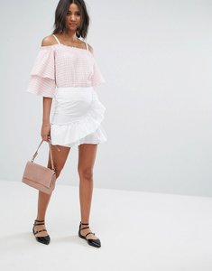 Read more about Miss selfridge ruffle mini skirt - white