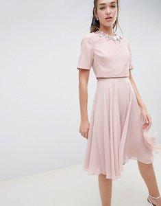 1117a12134f232 Read more about Asos design 3d embellished crop top midi skater dress - mink