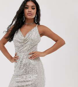 Read more about Tfnc cowl neck cross back sequin mini dress in silver
