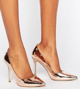 Read more about Asos peru pointed high heels - nude metallic