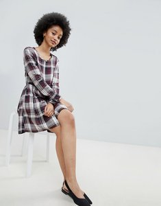 Read more about Only ester check skater dress - multi