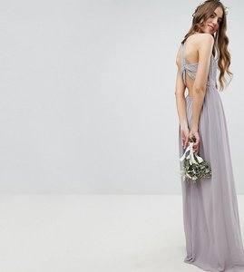 Read more about Tfnc tall embellished back detail maxi bridesmaid dress - grey