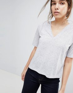 Read more about Asos design t-shirt with v-neck in linen mix in grey marl - grey marl