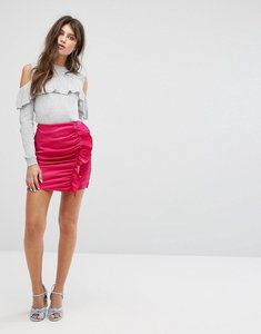 Read more about Fashion union mini skirt with ruffle gathers in luxe fabric - hot pink