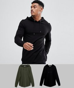 Read more about Asos longline muscle hoodie 2 pack with curved hem in black khaki save - mu1 - multi 1