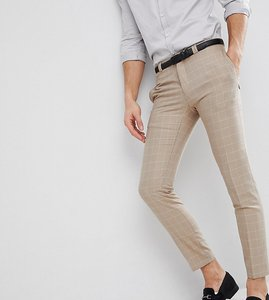 Read more about Noak skinny wedding suit trousers in windowpane check - beige