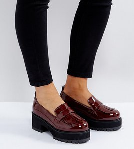 Read more about Asos opaque wide fit chunky heeled shoes - oxblood patent