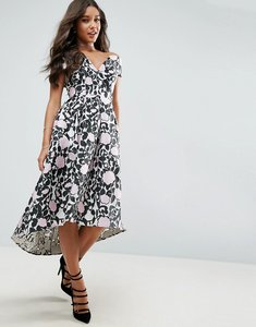 Read more about Asos floral bardot dip back midi prom dress - multi