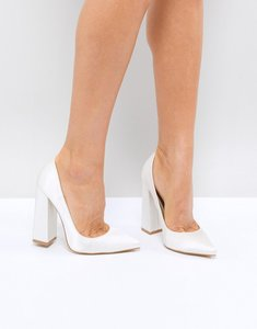 Read more about Be mine bridal adeline ivory satin block heeled court shoes - ivory