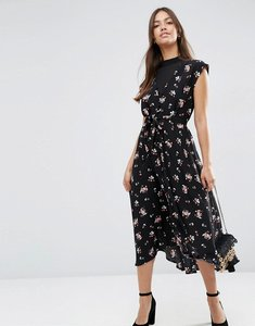 Read more about Asos midi tea dress with chiffon insert in ditsy floral print - multi