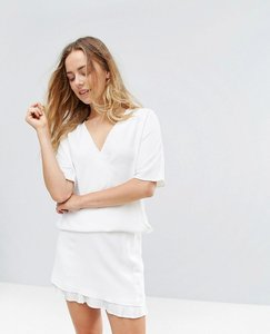 Read more about French connection arrow crepe pleated layer mini skirt - summer white