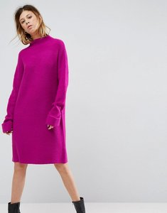 Read more about Asos knitted dress with turtle neck in fluffy rib - bright pink