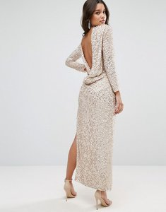 Read more about Asos all over sequin cowl back maxi dress - silver