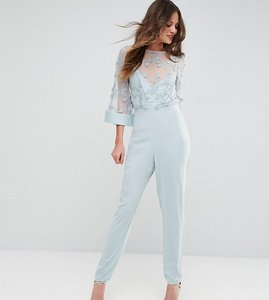 Read more about Asos tall jumpsuit with contrast lace bodice - dusty blue