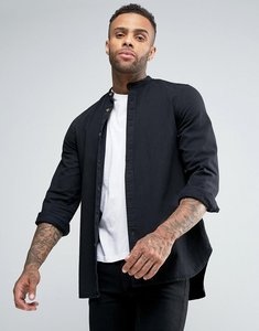 Read more about Asos regular fit longline denim shirt with grandad collar - black