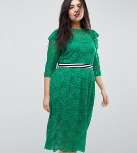 Read more about Asos curve midi lace tea dress with sports tipping - green