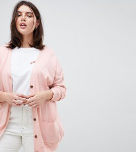 Read more about Asos design curve boyfriend cardigan in fine knit - blush