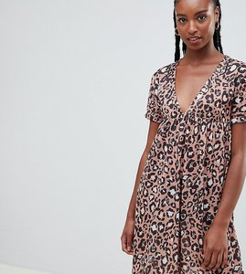 Read more about Asos design tall ultimate cotton smock dress in leopard print