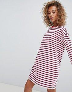Read more about Monki crew neck t-shirt dress in multi stripe - stripe